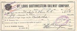 Receipt St Louis Southwestern Railway Company 1898 - Estados Unidos