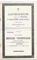 Lijkrede Edouard Verrewaere 1865 Waardamme Gemeenteraadslid En Aldaar Overleden  Maart 1937 Claerhout  Oostkamp - Andachtsbilder