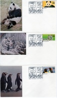 USA 1992 Wild Life Set Of 5 Cacheted FDC: Panda, Flamingo, Tiger,Penguin, Girrafe - FDC