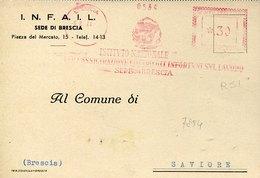 42746 Italia, Red Meter Freistempel Ema, 1944 Brescia Istituto Nazionale Infortuni, Circuled Card - Affrancature Meccaniche Rosse (EMA)
