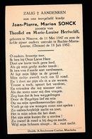JEAN PIERRE SONCK  NINOVE 1947   BACHTE MARIA LEERNE  1952 - Décès