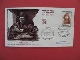 FDC 1957   Rembrandt    -  Cachet  Rembrandt - Paris        à Voir - 1950-1959