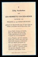 LEA VAN DEN HENDE  WACHTEBEKE  1941   - 1941 - Décès