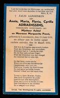 ANNIE ADRIAENSSENS   LOCHRISTI  1932   1933 - Overlijden