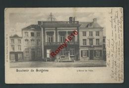 Soignies. L'Hôtel De Ville -  Petite Animation. Nels Série 4, N°76.  2 Scans - Soignies