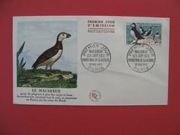 FDC 1960   Le Macareux  -  Cachet  Le Macareux Les Iles Protection De La Nature Paris       à Voir - 1960-1969