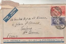 Uruguay Lettre Via Aerea Cie Gle AEROPOSTALE Montevideo 1933 Comtesse Guy De Saint Roman Toulouse Haute Garonne France - Uruguay