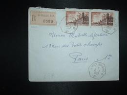LR TP BROUAGE 25F Paire OBL. HEXAGONALE 3-1 1957 SAINT-BRIEUC D  -D- (22 COTES DU NORD) - Postmark Collection (Covers)