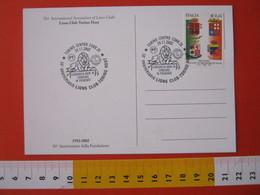 A.09 ITALIA ANNULLO - 2002 TORINO HOST 50 ANNI LIONS CLUB LEONE ANIMALE FELINO CARD GAGLIARDETTO - Felini