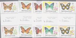 BUTTERFLIES - ST VINCENT  - 1978 - BUTTERFLIES SET IN GUTTER PAIRS ,SIGNED BY DESIGNER MS DOROTHY PADDON - Butterflies