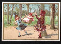 Chromo Au Bon Marche, 1885, VM29, 82x120mm, Dans Les Jardins Publics De Paris, L'escarpolette - Au Bon Marché