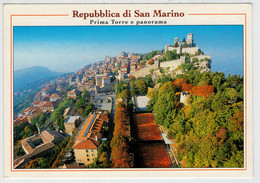 REPUBBLICA  DI  SAN  MARINO    PRIMA  TORRE  E  PANORAMA  (RINVIO)     2 SCAN              (VIAGGIATA) - San Marino