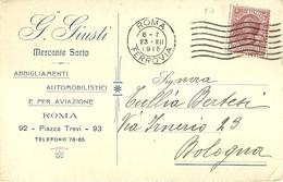 """2670 """" GINO GIUSTI-MERCANTE SARTO-ROMA-FORNITORE R. ESERCITO-R. MARINA """" CART.POST.ORIG.SPEDITA - Commercio"""