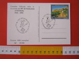 A.09 ITALIA ANNULLO - 1991 BIELLA 50 ANNI  SEZIONE AVIS A.V.I.S DONO DEL SANGUE SALUTE - Medicina