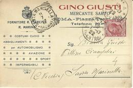 """2671 """" G, GIUSTI-MERCANTE SARTO-ROMA-ABBIGLIAMENTI AUTOMOBILISTICI E PER AVIAZIONE """" CART.POST.ORIG.SPEDITA - Trade"""