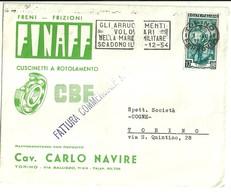 """2672 """" FINAFF-FRENI-FRIZIONI-CUSCINETTI A ROTOLAMENTO-CAV.C. NAVIRE-TORINO """" CART.POST.ORIG.SPEDITA - Italy"""