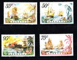 Barbuda 1975 Mi Nr  223 - 226 , Postris Met Plakker, Zeeslag - Antigua And Barbuda (1981-...)