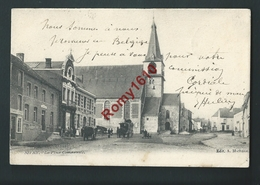 SIVRY- La Place Communale. Malle Poste, Animation, Attelage. Circulé En 1904.  Rare. 2 Scans. - Sivry-Rance