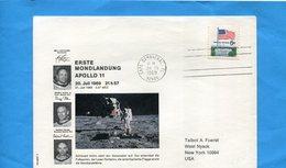 Marcophilie-USA-SPACE-Lettre Cad Cape Canaveral-20-7-1969-illustrée -photos Des Asronautes+signatures Imprimées - Event Covers