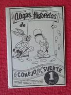 ANTIGUO SOBRE DE CROMOS SIN ABRIR CERRADO PACKAGE PACKET OF COLLECTIBLE CARDS EL CONEJO DE LA SUERTE RABBIT LAPIN VER - Documentos Antiguos