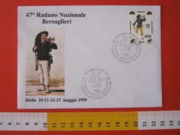 A.09 ITALIA ANNULLO - 1999 BIELLA RADUNO NAZIONALE BERSAGLIERI ALESSANDRO LA MARMORA GENERALE LAMARMORA BUSTA + FR. - Militaria
