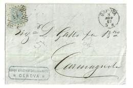 """2673 """" VITTORIO RIQUADRATO-20 CENT-1867 SU BUSTA INVIATA A CARMAGNOLA DA GENOVA """" BUSTA.POST.ORIG.SPEDITA - Storia Postale"""