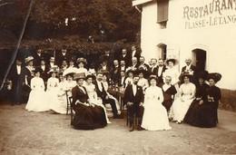 42. CPA.photo.RIORGES.  Personnages A La Terrasse Du Restaurant Plasse- Letang. 1909. Scan Du Verso. - Riorges