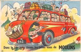 """CARTE A SYSTÈME """" DANS LE CAR NOUS AVONS DES JOLIES VUES DE MOULIN"""" 1954 - EDITIONS CAP - A Systèmes"""