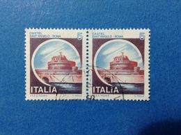 1980 ITALIA FRANCOBOLLI COPPIA CASTELLI USATI STAMPS USED - 5 LIRE CASTELLO SANT'ANGELO ROMA - 1971-80: Usati