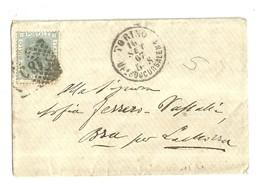 """2674 """" VITTORIO RIQUADRATO-20 CENT-1867 SU BUSTA INVIATA A BRA """" BUSTA.POST.ORIG.SPEDITA - Storia Postale"""
