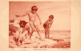 Enfants. CPA. Groupe D'enfants à La Mer Lanceurs De Galets. - Portraits