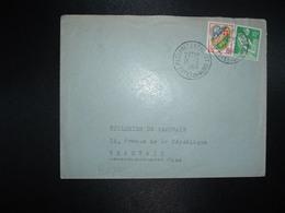LETTRE TP PAYSANNE 10F + ALGER 15F OBL.13-2 1960 PLOUARET ENTREPOT COTES DU NORD (22) - Railway Post