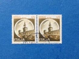 1980 ITALIA FRANCOBOLLI CASTELLI COPPIA USATI STAMPS USED - 10 LIRE CASTELLO SFORZESCO MILANO - 1971-80: Usati