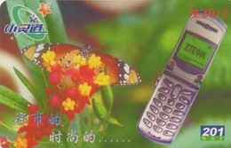 TARJETA TELEFONICA DE CHINA. MARIPOSAS - Service 201: Grey Mobile Phone & 01 Monarch. YYDX-05(3-3). (664). - Mariposas