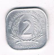 2 CENTS  1994 EAST CARIBBAEN  STATES /1379/ - Monnaies
