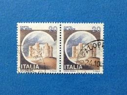 1980 ITALIA FRANCOBOLLI COPPIA CASTELLI USATI STAMPS USED - 20 LIRE CASTELLO DEL MONTE ANDRIA - 1971-80: Usati