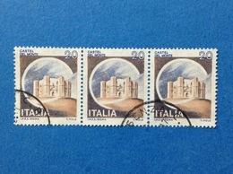 1980 ITALIA FRANCOBOLLI STRISCIA DI 3 CASTELLI USATI STAMPS USED - 20 LIRE CASTELLO DEL MONTE ANDRIA - 1971-80: Usati