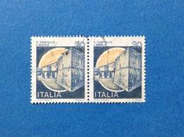 1981 ITALIA FRANCOBOLLI COPPIA CASTELLI USATI STAMPS USED - 30 LIRE CASTELLO L'AQUILA - 6. 1946-.. Repubblica