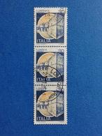 1981 ITALIA FRANCOBOLLI STRISCIA DI 3 CASTELLI USATI STAMPS USED - 30 LIRE CASTELLO L'AQUILA - 6. 1946-.. Repubblica