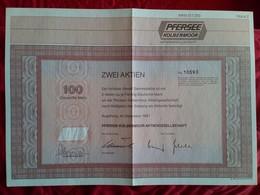 KOLBERMOOR - Zwei Aktien 2- Shares - 100 Deutsche Mark 1987 - [ 7] 1949-… : FRG - Fed. Rep. Of Germany