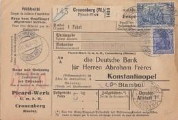 DR Paketkarte Mif Minr.87, 95 Cronenberg (Rhl.) 9.11.16 Gel. In Türkei - Deutschland