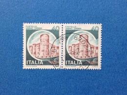 1980 ITALIA FRANCOBOLLI COPPIA CASTELLI USATI STAMPS USED - 40 LIRE CASTELLO URSINO CATANIA - 1971-80: Usati