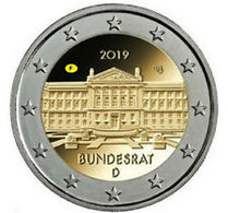 """Pièce Commémorative 2 Euro  Allemagne   2019 UNC  """" Bundesrat """" - Allemagne"""