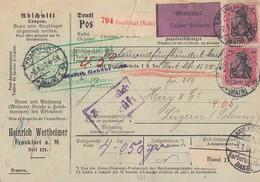DR Paketkarte Wertpaket Mif Minr.85II,3x 93II,2x 101 Frankfurt 2.1.20 Gel. In Schweiz - Germany