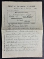 Lettre à En-tête Dépôt De SAINT NAZAIRE Prisonnier De Guerre Allemand Décembre 1917 - Postmark Collection (Covers)