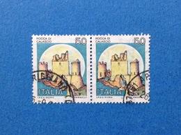 1980 ITALIA FRANCOBOLLI COPPIA CASTELLI USATI STAMPS USED - 50 LIRE CASTELLO ROCCA DI CALASCIO L'AQUILA - 1971-80: Usati