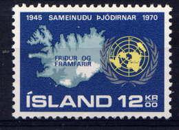 ISLANDE - 402** - 25è ANNIVERSAIRE DE L'O.N.U. - 1944-... Republique