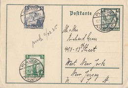 DR GS Minr.P256 Zfr. Minr.589,590 Plauen 12.11.35 Gel. In USA - Allemagne