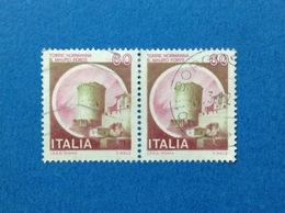 1980 ITALIA FRANCOBOLLI COPPIA CASTELLI USATI STAMPS USED - 60 LIRE CASTELLO TORRE NORMANNA S. MAURO FORTE - 1971-80: Usati