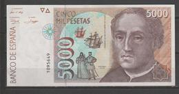 ESPAÑA BILLETE DE 5000Pts. SIN SERIE Plancha Solo Se Aprecia Un Ligerisimo Doble Posiblente De Orijen. - [ 4] 1975-… : Juan Carlos I